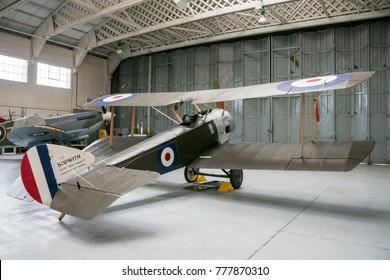 DUXFORD, CAMBRIDGESHIRE, UK, APRIL 28 2017 - A Sopwith Pup aircraft in a hangar at the Imperial War Museum, Duxford, England, UK