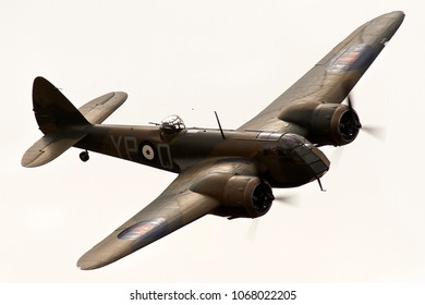 DUXFORD, CAMBRIDGESHIRE, UK - JULY 11, 2015: Bristol Blenheim Mk.I YP-Q L6739 (G-BPIV) carries out a display at Duxford airfield during the Flying Legends Airshow.