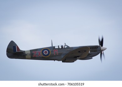 Duxford, Cambridgeshire, UK - July 12th, 2015: A Supermarine Spitfire performs at Duxford Flying Legends