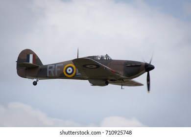 Duxford, Cambridgeshire, UK - July 12th, 2015: A Hawker Hurricane performs at Duxford Flying Legends