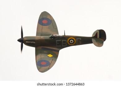 DUXFORD, CAMBRIDGESHIRE, UK - SEPTEMBER 14, 2014: Supermarine Spitfire Mk. IIa EB-G P7350, of the Battle of Britain Memorial Flight, displays over Duxford.