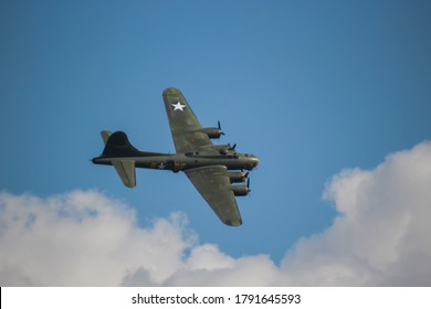 """Duxford, Cambridgeshire / UK - September 2015: The American World War II bomber """"Sally B"""" Boeing B-17G is the only airworthy model in Europe"""