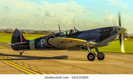 Duxford Cambridgeshire UK September 2017 Spitfire taxis out to take off destination unknown.