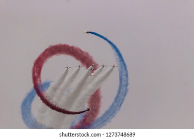 Duxford, England - 09/22/2018: Red Arrows in Flight