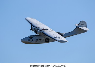 DUXFORD, ENGLAND - SEPTEMBER 11, 2016: Consolidated PBY Catalina at the Duxford Meet the Fighters airshow