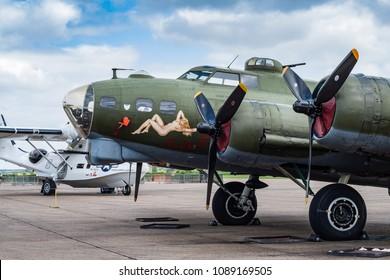 Duxford / UK - MAY 04 2018: B-17 in Duxford museum