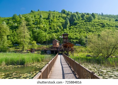 DUZCE, TURKEY - APRIL 29, 2017 : Efteni Lake with water lily and long pier in Duzce, Turkey.