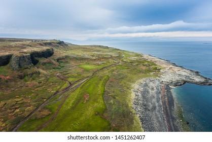 Dva Brata Rock (Saami tract). Sredniy Peninsula. Barents Sea, Murmansk region. Russia. Aerial - Shutterstock ID 1451262407