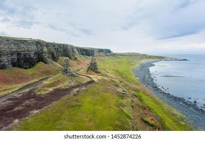 Dva Brata Rock (Saami tract). Sredniy Peninsula. Barents Sea, Murmansk region. Russia. Aerial - Shutterstock ID 1452874226