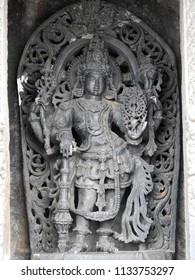 Dvarapala before the sanctum at Chennakeshava Temple, Belur, Hassan District of Karnataka state, India. It was commissioned by Hoysala Empire King Vishnuvardhana in 1117 CE.