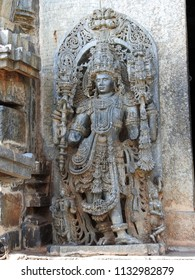 Dvarapala at northern entrance of Hoysaleswara temple / Halebidu temple, Halebidu, Hassan District of Karnataka state, India. The temple was built in 12th-century rule of Hoysala Empire.