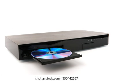 DVD, CD disk insert to DVD player. DVD CD with CD or DVD player isolated on white background. CD, DVD player with an open tray on white background.