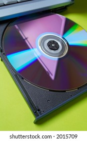 DVD in CD Tray of Computer Laptop