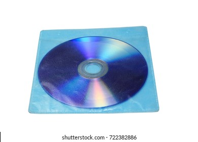 DVD disc in plastic bag on white isolated background