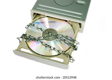DVD drive with safety lock isolated on white background