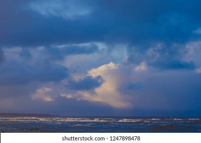 Dvina Bay of the White sea. Blue clouds over the water