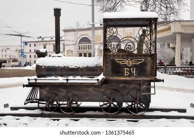 DVITEBSK. BELARUS. 23 DECEMBER 2018 :ecorative steam locomotive in front of railway station in Vitebsk. Belarus