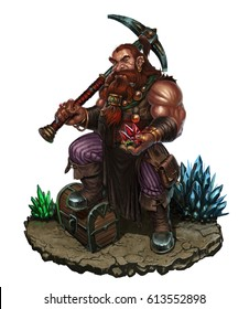 Dwarf with a pick and diamonds on rock