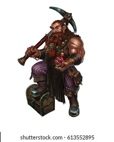 Dwarf with a pick and diamonds on white