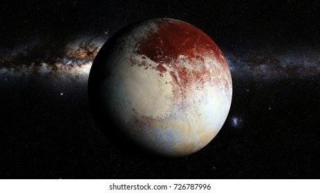 dwarf planet Pluto lit by the stars of the Milky Way galaxy (3d rendering, elements of this image are furnished by NASA)