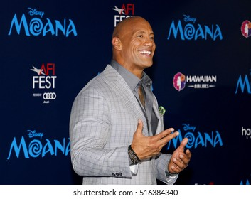 Dwayne Johnson at the AFI FEST 2016 Premiere of 'Moana' held at the El Capitan Theatre in Hollywood, USA on November 14, 2016.