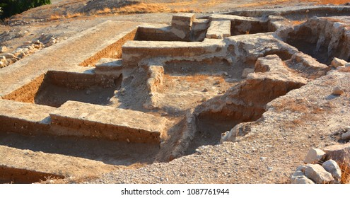Dwelling foundations unearthed at Tell es-Sultan in Jericho. Archaeologists have unearthed the remains of more than 20 successive settlements in Jericho