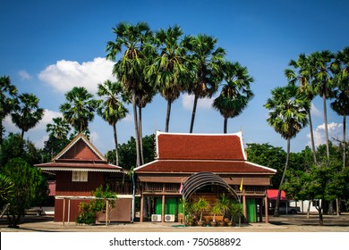 The Dwelling or residence of Thai monk in the countryside with sugar palm garden in Thailand