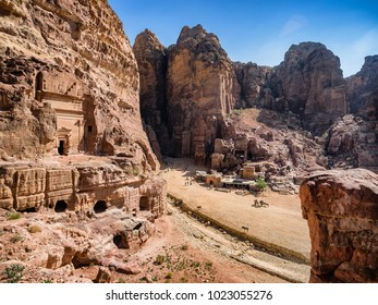 Dwellings homes in Petra lost city in Jordan