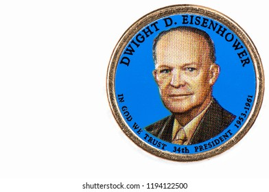 Dwight D. Eisenhower Presidential Dollar, USA coin a portrait image of LYNDON B. JOHNSON in God We Trust 34th PRESIDENT 1953-1961 on $1 United State of Amekica, Close Up UNC Uncirculated - Collection