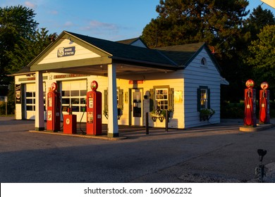 Dwight, Illinois, USA - July 5, 2014: The Ambler-Becker Texaco Station, an old Service Station along the historic route 66 in the city of Dwight, in the State of Illinois, USA.