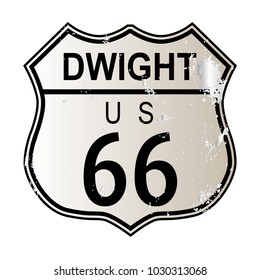 Dwight Route 66 traffic sign over a white background and the legend ROUTE US 66