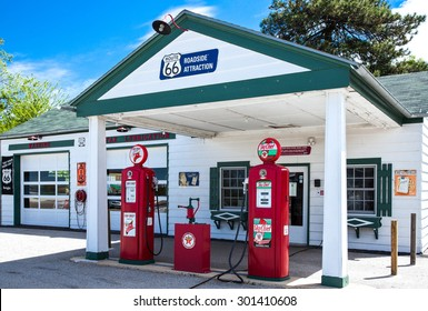 Dwight, U.S.A. - May 17 2011: Illinois, the old Texaco gas station on the Route 66