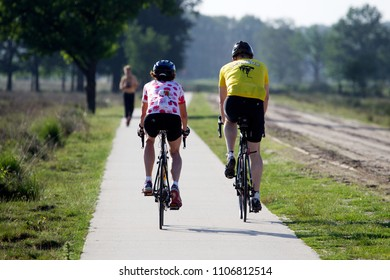 Dwingelderveld, the Netherlands - June 5, 2018: cyclists on the Dwingelderveld