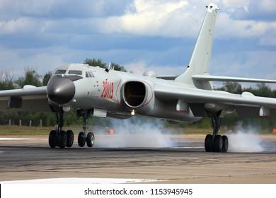 DYAGILEVO, RYAZAN, RUSSIA - AUGUST 10, 2018: Xian H-6K 20119 strategic bomber airplane of People's Liberation Army Air Force seen at Dyagilevo airfield during Aviadarts contest.