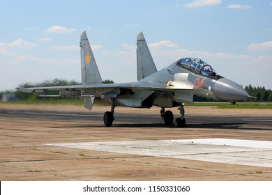 DYAGILEVO, RYAZAN, RUSSIA - AUGUST 2, 2018: Sukhoi Su-30SM brand new jet fighter of Kazakhstan air force seen at Dyagilevo airfield during Aviadarts contest.