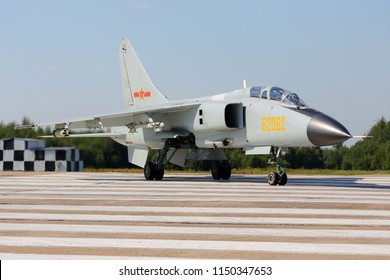 DYAGILEVO, RYAZAN, RUSSIA - AUGUST 2, 2018: Xian JH-7A FBC-1 Flying Leopard frontline bomber of Chinese People's Liberation Army Air Force  seen at Dyagilevo airfield during Aviadarts contest.