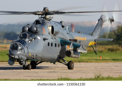DYAGILEVO, RYAZAN, RUSSIA - AUGUST 2, 2018: Mil Mi-35M attack helicopter of Kazakhstan air force seen at Dyagilevo airfield during Aviadarts contest.