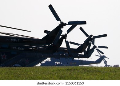 DYAGILEVO, RYAZAN, RUSSIA - AUGUST 2, 2018: Mil Mi-8 helicopters of Russian air force seen at Dyagilevo airfield during Aviadarts contest.
