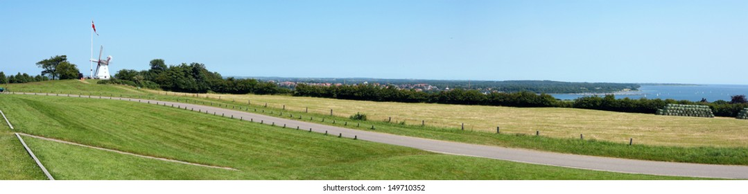 Dybbol mill and panorama.  Dybbol is a small town in the southeastern corner of South Jutland, Denmark. Place is known for the key battle of the second Schleswig war on the 18 April 1864.