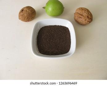 Dye powder of dried green walnut shells