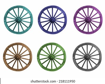 Dyed color wagon wheel on a white background.