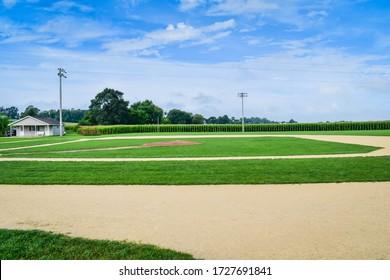 Dyersville, IA - August 18, 2018: The Field of Dreams baseball field located near Dyersville, Iowa.
