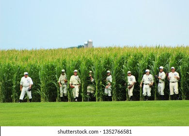 Dyersville, IA/USA July 17 2016: Ghosts in the outfield, Chicago White Sox players emerging from the corn at Field of Dreams