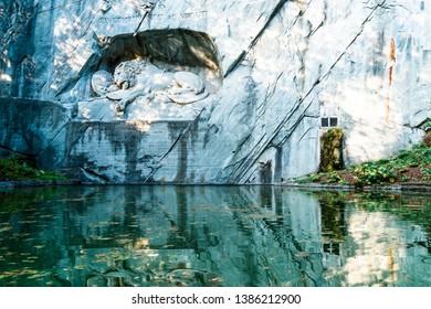 dying lion monument, landmark in Lucerne (Luzern) Switzerland