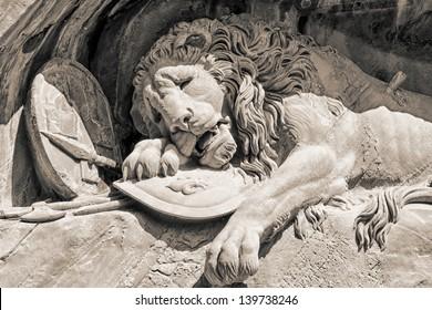 Dying lion monument in Lucerne (Lucern), Switzerland