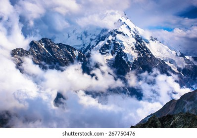 Dykh-Tau, 5,204 m - the second highest mountain in Russia, after Mount Elbrus. Caucasus, Bezengi region, Kabardino-Balkaria