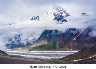 Dykh-Tau, 5,204 m - the second highest mountain in Russia, after Mount Elbrus. Caucasus, Bezengi region, Kabardino-Balkaria