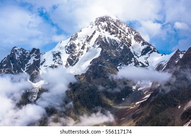 Dykh-Tau, 5,204 m - the second highest mountain in Europe, after Mount Elbrus. Caucasus, Bezengi region, Kabardino-Balkaria, Russia