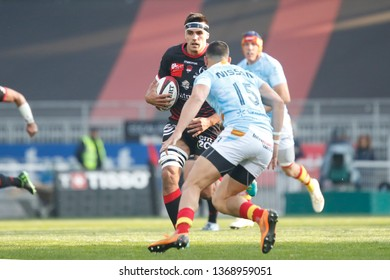 Dylan Cretin of Lyon and Julien Farnoux of Perpignan during the French championship Top 14 rugby union match between Lyon OU and USA Perpignan on April 13, 2019 at Matmut stadium in Lyon, France