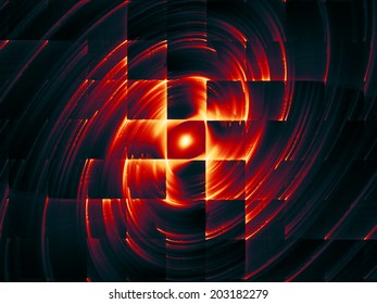 Dynamic Background series. Creative arrangement of fractal motion textures as a concept metaphor on subject of science, technology and design